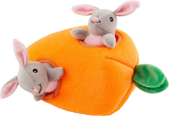 ZippyPaws Burrow Squeaky Hide & Seek Plush Dog Toy, Bunny 'n Carrot